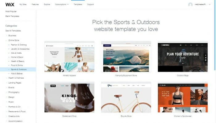 Wix Templates ecommerce software Singapore