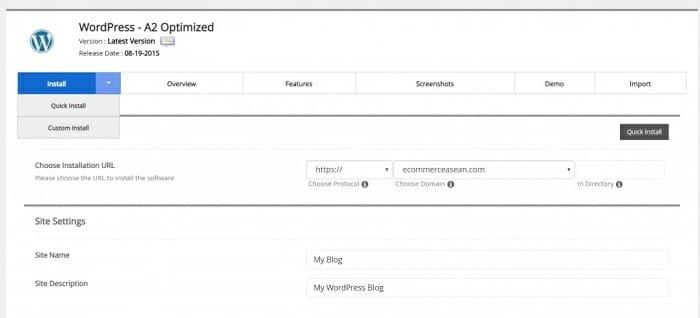 A2 hosting quick wordpress installation