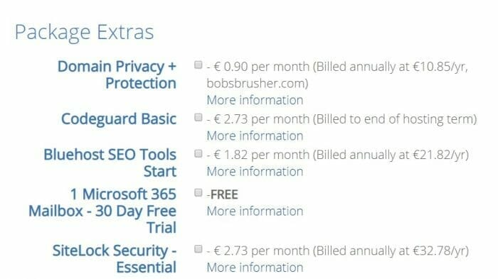 Bluehost packages extras for adsense blog