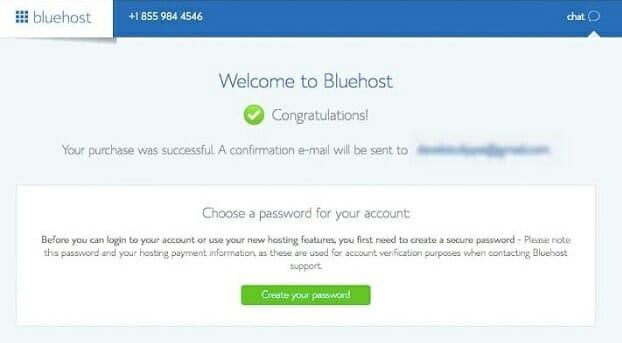 Bluehost password creation