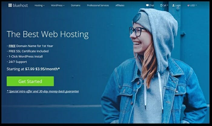 Wordpress recommends bluehost web host service