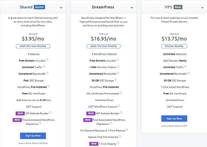 dreamhost hosting plans for WordPress