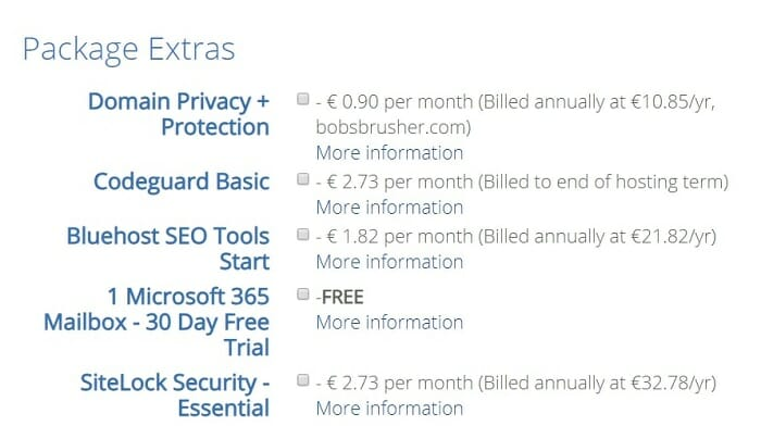 Extra Bluehost packages