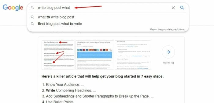 Find topics for your first blog post using Google QWERTY method