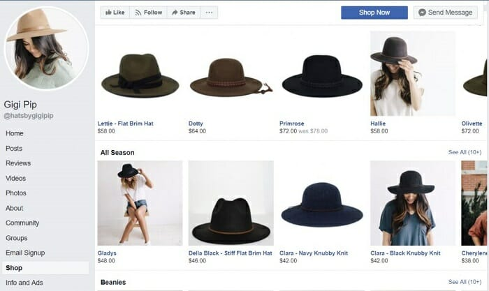 Facebook eCommerce Store Example