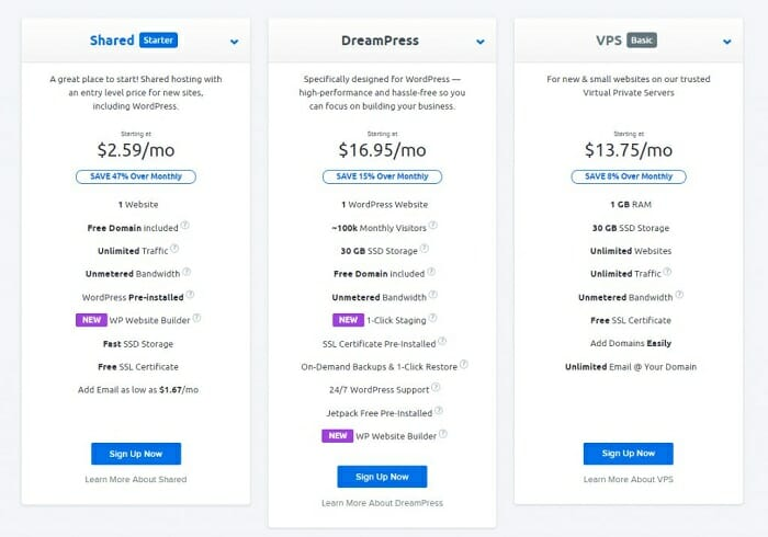 hosting plans compared on Dreamhost
