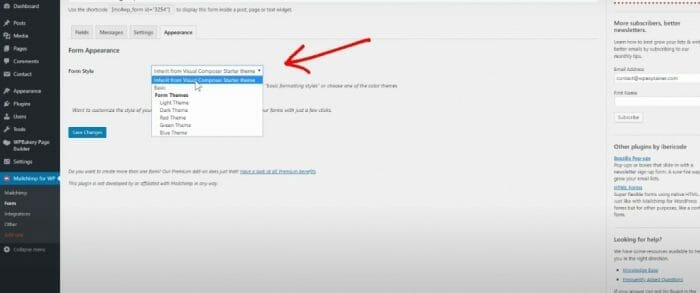 how to change appearance of email forms on Mailchimp