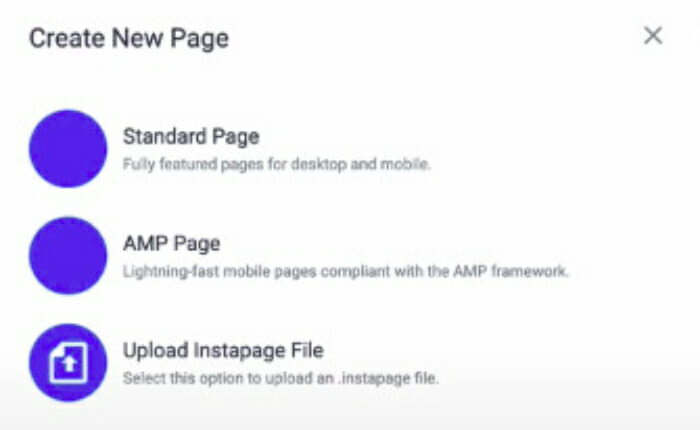 how to create a new page in instapage 700X430