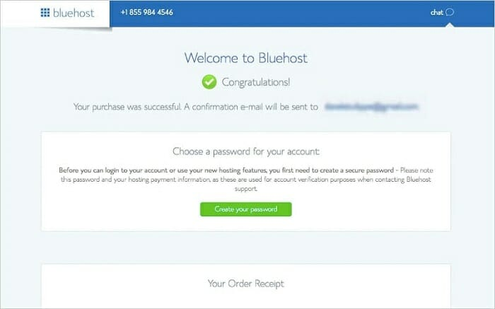 how to create a new password on Bluehost