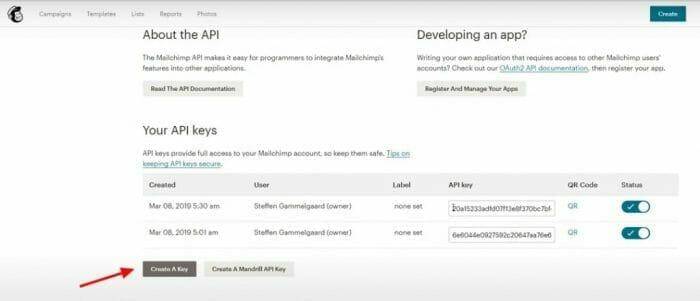how to create an API on Mailchimp