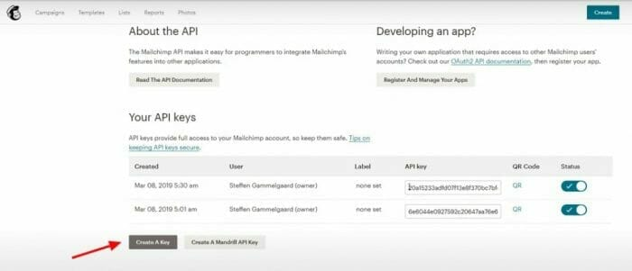 how to create an API on Mailchimp