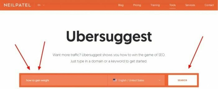 how to do keyword research with ubersuggest for a google adsense website
