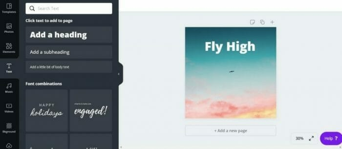 how to make an Instagram post on Canva