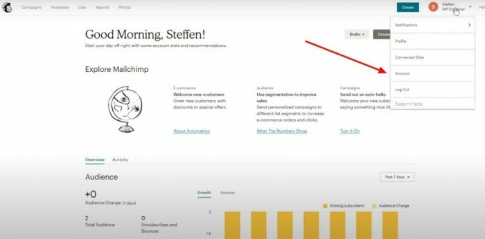 Mailchimp settings and tracking