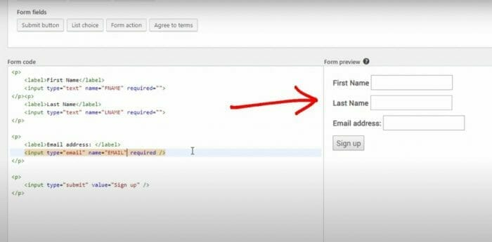 Mailchimp tutorial to make an email capturing form