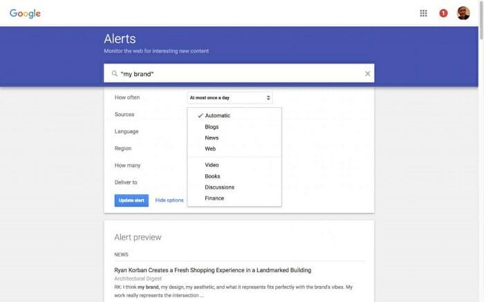 research google alerts niche