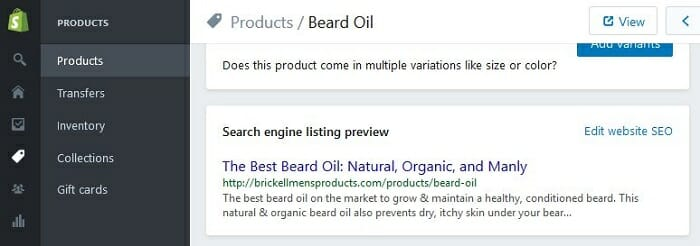 shopify product seo benefits