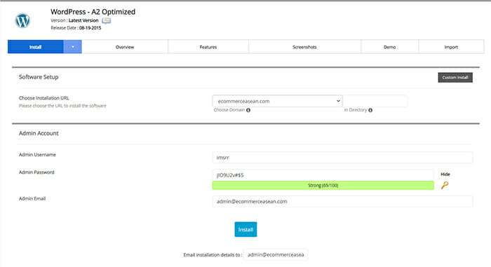 wordpress a2 hosting optimized quick installation for blog