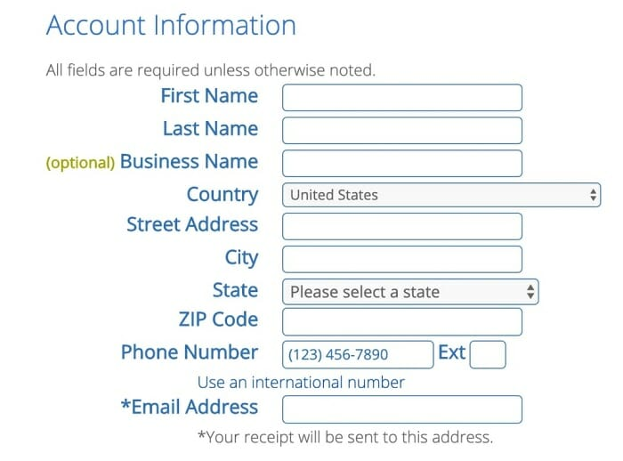 Bluehost signup procedure for getting free domain name